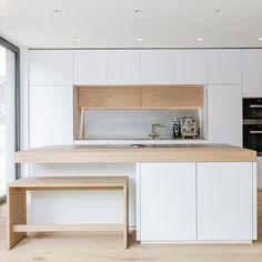 k che modern wei braun beige hochglanz k che und holz arbeitsplatte wohnen pinterest. Black Bedroom Furniture Sets. Home Design Ideas