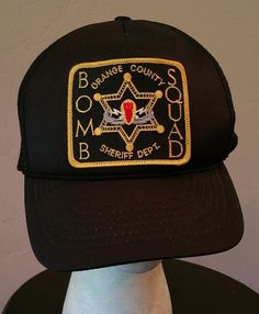41a7fc39 Bomb Squad Orange County Sheriff Dept Snapback Cap trucker Hat black sewn  patch #LeSport #