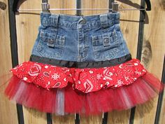 "upcycle!  Turn those too small jeans into a cute skirt - perfect for my baby girl's ""girlier"" days! :)"