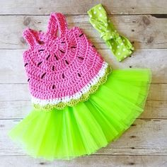 Crochet Baby Watermelon Summer Open Back Swing Top Tank Halter Top Polka Dot Tie Knot Cotton Headband Tutu Set Newborn Infant Toddler Handmade Clothing