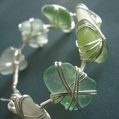 wire wrapped jewelry | Seaglass bracelet wire wrapped white aqua by ZamzamCreations, $60.00