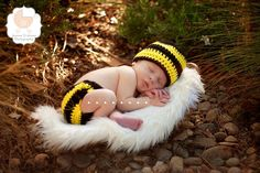 Treasured Little Creations Baby Girl or Boy Newborn Bumblebee Hat and Diaper Cover Set Photography Prop Animal Halloween Costume