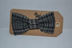 Grey and Black Plaid Flannel Bow Tie Pet collar bow