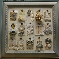 framed tags..LOVE this idea http://pollyspaper.wordpress.com/2011/10/12/shabby-chic-christmas-tag-collage/