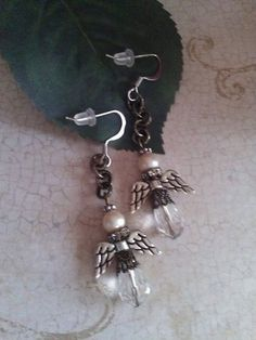Rustic Angels mixed media and  chain dangle by ABBGDesigns on Etsy, $14.50