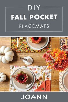Set the table with a seasonal flair thanks to these DIY Fall Pocket Placemats from JOANN! You're sure to add a pop of color to the dining table when you craft this fun project. Fall Projects, Craft Projects, Sewing Projects, Craft Ideas, Sewing Ideas, Sewing Crafts, Fall Placemats, Place Mats Quilted, Types Of Craft
