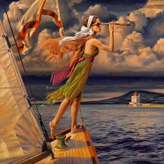 Peregrine Heathcote Still-Life Painting - Let Your Dreams Set Sail 2015 American Realist Art Deco Posters, Vintage Posters, Florence Academy Of Art, Pinup, Paint Photography, Edward Hopper, Weird Pictures, Pulp Art, Naive