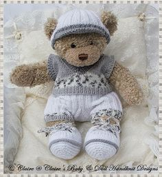 "Slipover and Shorts Set 16"" Teddy Bear/Bunny-teddy, knitting pattern, build a bear"