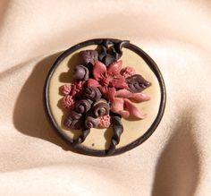 Handmade Fimo Flower Brooch In Pinks & Purples by UpsideDownKisses, £1.99