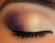 purple gold and white metallic, shimmery make up - nice evening look for making brown eyes pop. I don't usually like eye make up but this is pretty! Pretty Makeup, Love Makeup, Beauty Makeup, Makeup Looks, Hair Beauty, Purple Makeup, Sephora, Mascara Hacks, Purple Smokey Eye