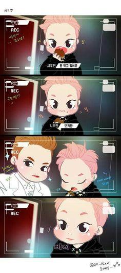 Xiumin pan de mocca y Kris  fanart   'XOXO' EXO.