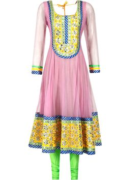 Pink and green gota patti embroidered anarkali set by Surabhi Arya. Shop now only at www.perniaspoopupshop.com! #perniaspopupshop #surabhiarya #pink #green #ethnic #anarkali #designer #fashion #gorgeous #love #shopnow #happyshopping