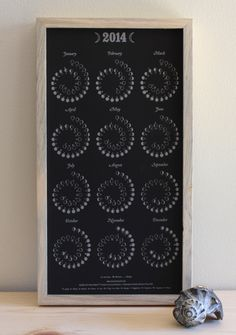2014 MOON CALENDAR  in Obsidian Black  Letterpress by rendij, $16.00
