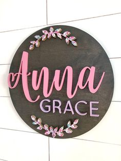 Trendy Hand Painted Wood Signs How To Make Ideas Carved Wood Signs, Diy Wood Signs, Painted Wood Signs, Wall Signs, Wall Plaques, Hand Painted, Color Names Baby, Baby Names, Girl Names