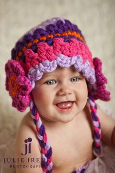 Kids Hats Pink Purple Fucshia Lavender / Knit Hat for by imomzi, $22.00