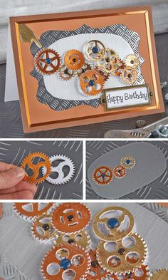 The overall style of this card has an industrial theme and could be adapted for something more steampunk. Layering die-cut cog shapes has given this birthday card fantastic depth.