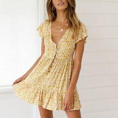 Bohemian Style V Neck Flower Printing Mini Dress – nananova Black Wedding Dresses, Elegant Dresses, Sexy Dresses, Casual Dresses, Dresses For Work, Summer Dresses, Formal Dresses, Mini Dresses, Pretty Dresses