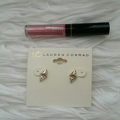 """BareMinerals lipgloss & Lauren Conrad earrings! This listing is a fun little bundle that includes brand new Lauren Conrad earrings in gold tone and a BareMinerals .8ml lipgloss in """"Smooth Talker"""" shade. Both new, unused. bareMinerals Makeup Lip Balm & Gloss"""