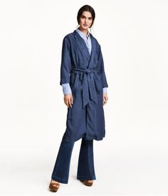 Long coat in washed denim made from Tencel lyocell with pockets and buttons at the front and a tie belt at the waist. Fashion Wear, Kids Fashion, Denim Coat, H&m Online, Put On, My Outfit, Fashion Online, Duster Coat, How To Wear