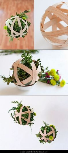 DIY Hanging Boxwood Pendant- We could use branches or even construction paper for the globe, a little hot glue, holiday ribbon, and some tree clippings voila! Do It Yourself Inspiration, Do It Yourself Projects, Cool Diy Projects, Projects To Try, Decor Crafts, Diy Home Decor, Diy And Crafts, Arts And Crafts, Deco Floral