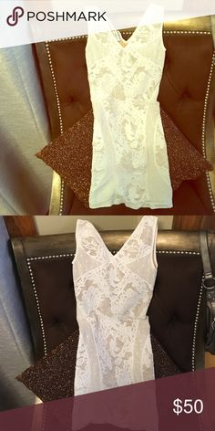 White over nude Bebe bodycon dress ACCEPTING OFFER Beautiful White over nude tight fitting Bebe body on dress ✨ bebe Dresses