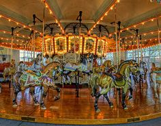 Hampton Carousel  Take a ride on the fully restored 1920's wooden carousel and get nostalgic for a time long passed. Ride on one of the 48 finely carved prancing steeds or carriages that still turn to the original band organ.  This American tradition is one of only 170 left in the nation and a tribute to its artisans. Hampton, VA