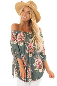 86a30bfa22c3f7 Lime Lush Boutique - Sage Floral Off the Shoulder Blouse with Tie Sleeve