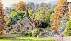 Autumn wedding at Findon, S R Badmin ready mounted vintage print Little England, Irish Painters, Best Jigsaw, English Artists, Landscape Paintings, Landscapes, East Sussex, Illustrations And Posters, Autumn Wedding