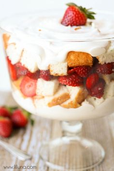 Strawberries and Cream Angel Food Cake Trifle