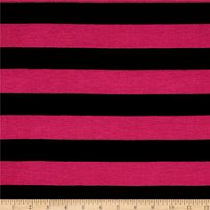 Jersey Knit Stripe Black/Fuscia from @fabricdotcom  This lightweight jersey knit fabric is super soft and features 50% stretch on the grain for comfort and ease. Perfect for t-shirts and scarves.