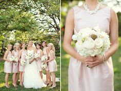 Romantic soft pink bridesmaid dresses with bouquets of lush ivory flowers.