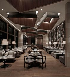 BTR workshop completes simplylife flagship restaurant interiors in hong kong - Bigger Luxury Deco Restaurant, Luxury Restaurant, Restaurant Lighting, Asia Restaurant, Lobby Interior, Restaurant Interior Design, Restaurant Interiors, Cafe Interiors, Interior Ideas