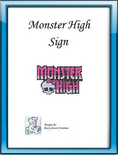 Monster High Plastic Canvas Logo Pattern by BearySweetCreations, $3.00