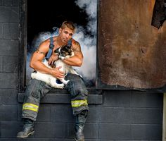 Firefighters in Charleston, SC, got together to help make Charleston the FIRST community with no kill shelters in the Southeast. How? The best way possible: A calendar with hunky firefighters and even more adorable rescue pups.