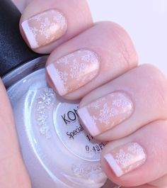 """""""[Konad] Plate m71, the pinkish base is Revlon Always Sheer Bliss, and the white is Orly Softest White."""""""