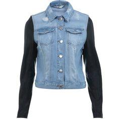 Miss Selfridge PU Sleeve Denim Trucker ($35) ❤ liked on Polyvore featuring outerwear, jackets, tops, veste, light wash denim, miss selfridge and trucker jacket