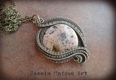 wire wrapped pendant, wire wrap jewelry, brass jewelry, wire jewelry, rhodonite jewelry, gift for women, brass pendant, rhodonite pendant by JasmimUniqueArt on Etsy