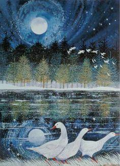 chasingtailfeathers:  Lisa Graa Jensen - Snow Geese
