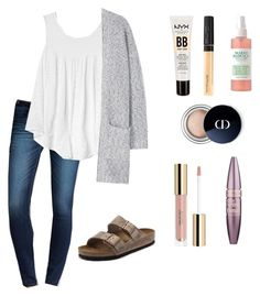 """""""casual school morning"""" by emaan-115 on Polyvore featuring American Eagle Outfitters, Gap, MANGO, Birkenstock, NYX, Maybelline and Christian Dior"""