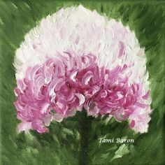Tami Baron - Purple and White Chrysanthemum - Oil on canvas 6x6