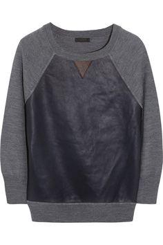 J.Crew/Dorito leather-paneled merino wool top/$200