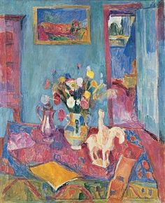 Interior with Tang Horse, 1918 by Hans Purrmann, (German, 1880-1966)