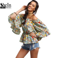 US $23.28 -- SheIn Off-The-Shoulder Flower Print Peplum Blouse Womens Tops Fashion 2016 Three Quarter Length Flare Sleeve Chiffon Blouses aliexpress.com