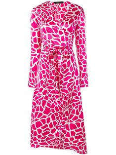 Federica Tosi Vegas printed wrap dress - Pink Animal Print Wedding, Pink Dress, White Dress, Print Wrap, Wrap Style, Mid Length, Vegas, Wrap Dress, Women Wear