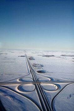 Prairie Winter Highway by Paul Galipeau. This is the view I have when I leave WINNIPEG, MANITOBA airport in February/March for my holiday with my sister in Mexico - it's always nice to see how the snow gives way to green spaces the further south we fly. Rocky Mountains, British Columbia, Province Du Canada, Canada Eh, Vancouver, Birds Eye View, Aerial Photography, Winter Scenes, Canada Travel