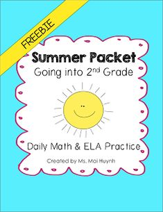 Help prevent the summer slide with this summer packet for the students leaving… Summer Worksheets, 2nd Grade Worksheets, 2nd Grade Reading, 2nd Grade Math, Second Grade, Grade 1, Summer School, School Fun, School Days