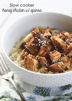 Slow Cooker Honey Sesame Chicken with Quinoa ~ Super easy dinner recipe to make and absolutely delicious! #recipes #dinner