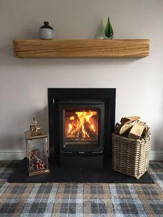 We specialise in solid oak fireplace beams, ceiling beams, AGA / over range cooker surrounds, shelving and shoe / coat racks, real oak wood flooring. Inset Fireplace, Wood Burner Fireplace, Fireplace Design, Living Room Decor Fireplace, Home Fireplace, Modern Fireplace, Inset Stoves, Chimney Breast, Log Burner