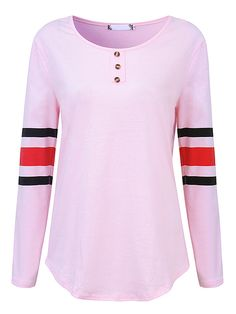 Sale 29% (21.29$) - Pink Women Casual Striped Patchwork Long Sleeve O-Neck T-shirts
