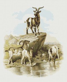 A Visit to the Farm - Goats Cross Stitch Pattern, Instant PDF Digital Download Counted Cross Stitch Chart, Embroidery Pattern, Needlework